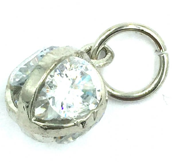 Crystal charm / pendant - 4 crystal caged ball 10mm - rhodium